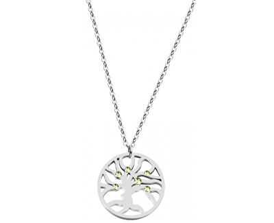 Preciosa Ocelový náhrdelník s krystaly Olive 7335 53