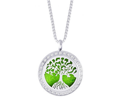 Preciosa Oceľový náhrdelník so zirkónmi PERFUMED Tree of Life 7301 00