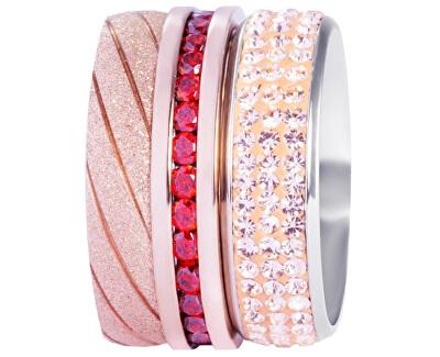 Preciosa Sada tří vrstvených prstenů v bronzové a červené barvě 7304 70