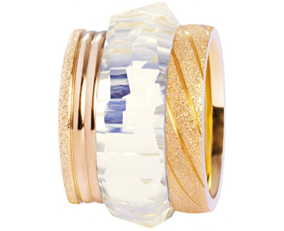 Preciosa Sada tří vrstvených prstenů ve zlaté barvě 7303 70