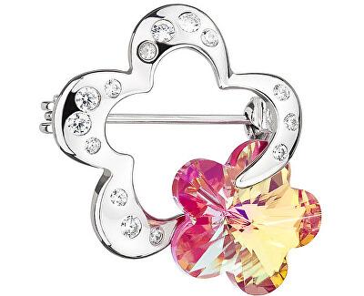 Strieborná brošňa Crystal Flower Fuchsia 6726 55