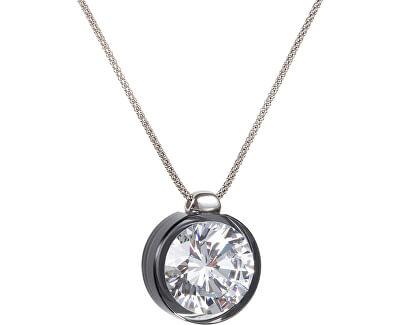 Preciosa Strieborný náhrdelník s veľkým kryštálom Brilliant Star čierny 5195 40