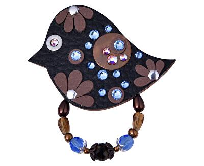 Černá brož s modrými kamínky Pták