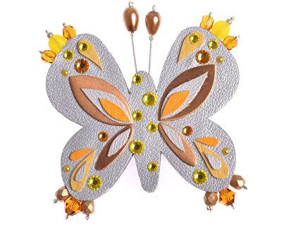 Striebristá brošňa Motýľ