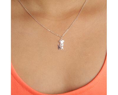 Dětský stříbrný náhrdelník Usměvavý pejsek KO5138_BR030_40_RH  (řetízek, přívěsek)