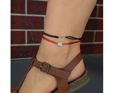 Šňůrkový červený kabala náramek na nohu Nekonečno KA6192