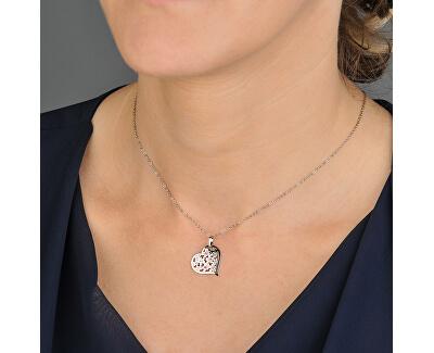Stříbrný náhrdelník s krystaly Flowering Heart KO5027_BR030_49_RH  (řetízek, přívěsek)