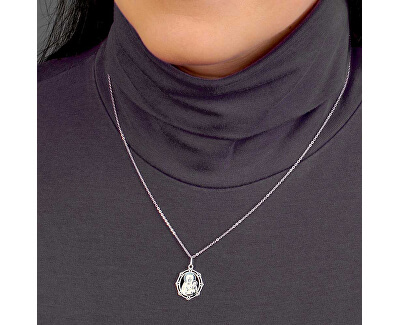 Stříbrný náhrdelník Víra a láska KO0867_BR030_43-7_RH  (řetízek, přívěsek)