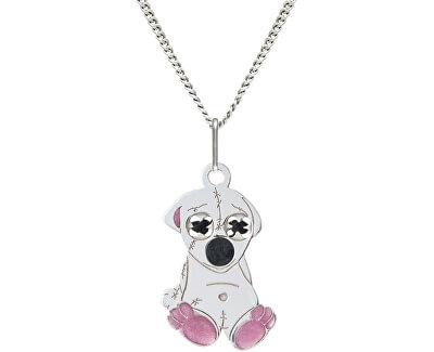 Dívčí stříbrný náhrdelník Medvídek KO0976_CU035_40_RH  (řetízek, přívěsek)