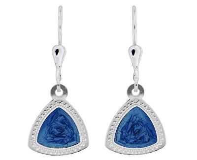 Elegantní stříbrné náušnice s modrým středem NA5107_RH