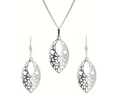 Moderní stříbrná sada šperků KO5147_NA0941_RH  (přívěsek, řetízek, náušnice)