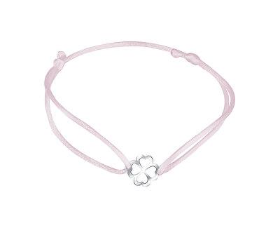 Šňůrkový růžový kabala náramek Čtyřlístek KA6194