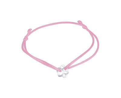 Šňůrkový růžový kabala náramek Tlapička KA6175