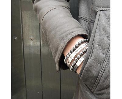 Brățară din piele pentru bărbați Small Braided Neagra RR-L0070-S