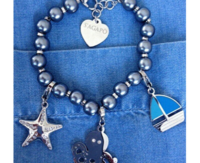 Náramek s modrými perličkami Happy SHAC5