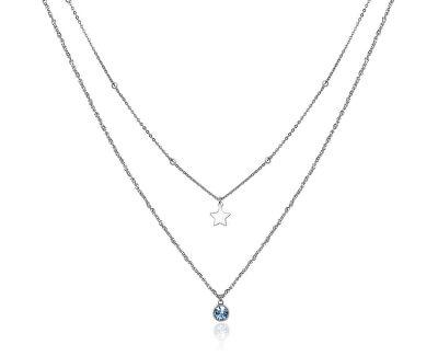 Dvojitý oceľový náhrdelník s ozdobami Aurora SAR09