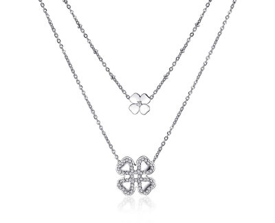 Dvojitý oceľový náhrdelník sa štvorlístkami ECHO SEH03