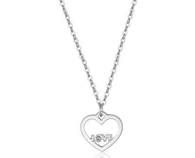 Náhrdelník s príveskom srdca a nápisom LOVE Pretty SPE02 (retiazka, prívesok)