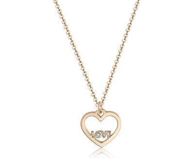 Náhrdelník s príveskom srdca a nápisom LOVE Pretty SPE04 (retiazka, prívesok)