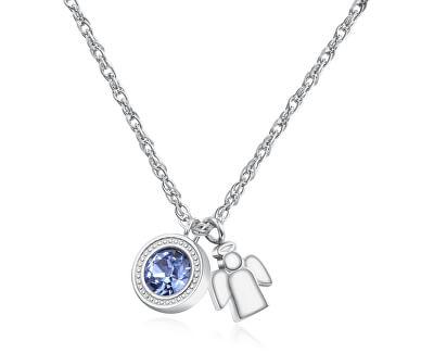 Ocelový náhrdelník s krystalem a andílkem Light SKT03