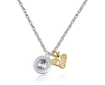 Ocelový náhrdelník s krystalem a včeličkou Light SKT05