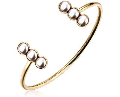 Pevný pozlacený náramek s perličkami Marylin SMY14