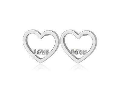 Srdcové náušnice s nápisom LOVE Pretty SPE22