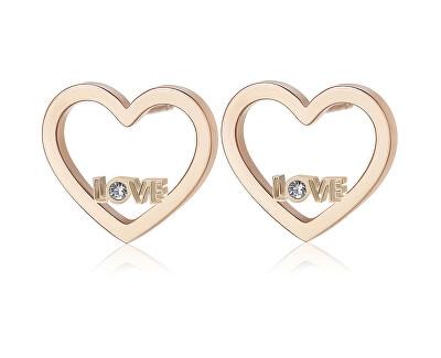 Srdcové náušnice s nápisom LOVE Pretty SPE24