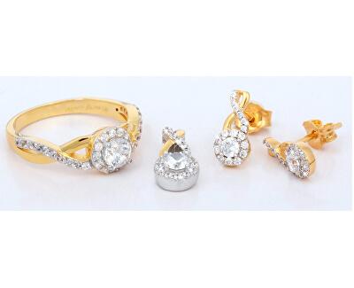 Inel din argint placat cu aur cu SC239 zircon