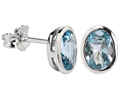 Něžné náušnice s modrým krystalem SC263