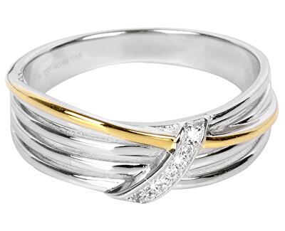 Silver Cat Pozlátený strieborný prsteň so zirkónmi SC189