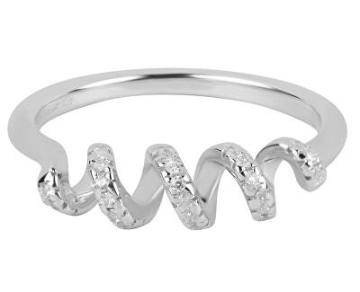 Spirálový prsten se zirkony SC258