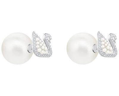 Dvojité náušnice s labutěmi a perlami SWAN 5416591