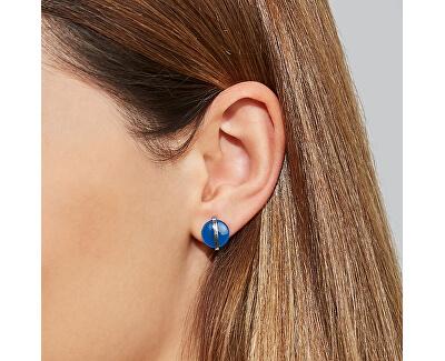 Oceľové náušnice s modrým sklom SKJ1294040