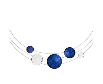 Colier din oțel cu sidef albastru SKJ1262040