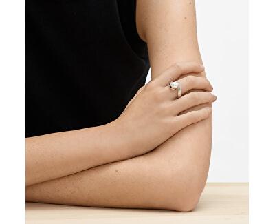 Oceľový prsteň s perlou a kryštály SKJ0091040