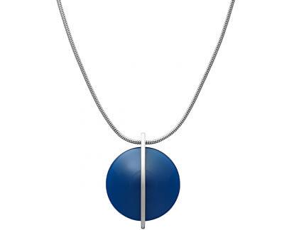 Colier din oțel cu sticlă albastră SKJ1296040