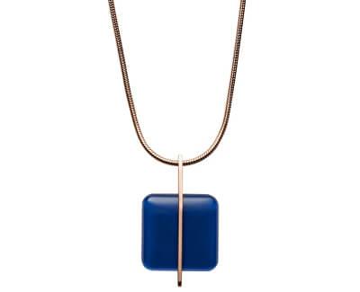 Colier din oțel placat cu aur roz cu sticlă albastră SKJ1134791