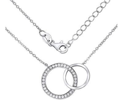 Stříbrný náhrdelník TOGETHER FOREVER spojené dva kruhy JJJMVP0419