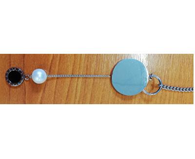 Dlouhý ocelový náhrdelník s pravou perlou JL0477CH - SLEVA