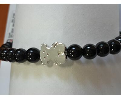 Onyxový náramek se stříbrným medvídkem 315901590-M - SLEVA