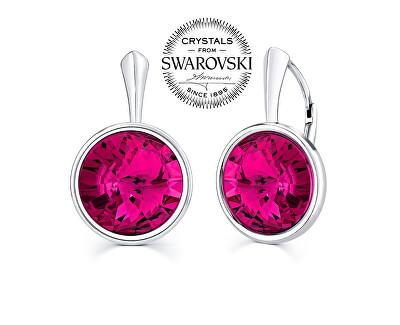 Stříbrné náušnice se Swarovski® Crystals fuchsia VSW005E