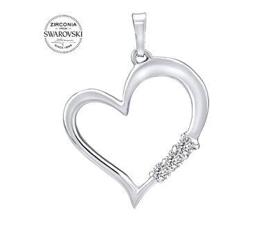 Stříbrný přívěsek Srdce s čirými krystaly Swarovski SILVEGO11580w