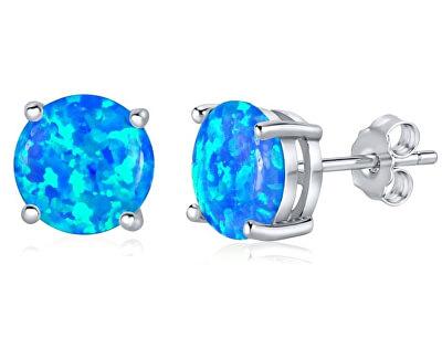 Stříbrné náušnice s modrým opálem JJJEB302004
