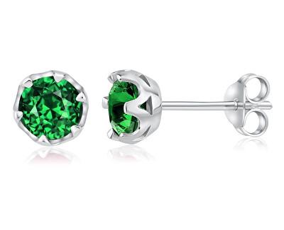 Stříbrné náušnice se zeleným topazem JJJ1033GS