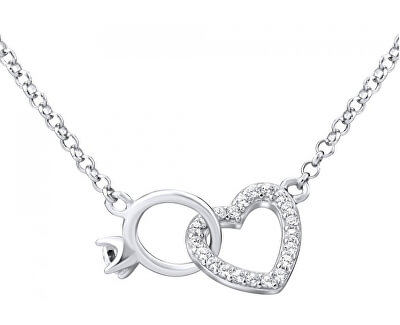 Stříbrný náhrdelník srdce propojené s prstýnkem MWN01149