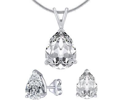Stříbrný set šperků s čirým křišťálem JJJS8888 (náušnice, přívěsek)