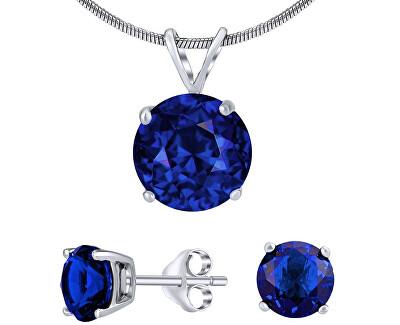 Stříbrný set šperků s tmavě modrým křišťálem JJJS8TM1 (náušnice, přívěsek)