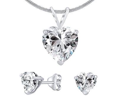 Stříbrný set šperků s čirým křišťálem JJJHEART01 (náušnice, přívěsek)
