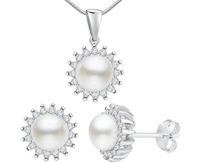 Stříbrný set VERA s pravou perlou LPS1166 (náušnice, přívěsek)